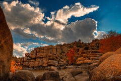 Granite Dells Puffy Clouds Fall Colors Low Viewpoint