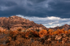 Granite Dells Storm Clouds Rock Outcropping Fall Colored Trees