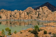 Granite Dells Storm Clouds Rock Reflection in Water